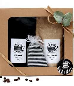 darčekové balenie kávy s darčekom